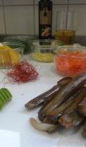 Ingwer-Schwertmuscheln-Zutaten